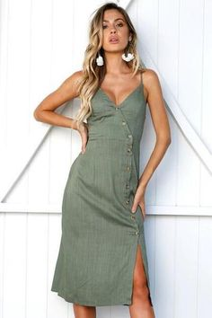 The dress has buttons The dress has just one color,army green. The dress is sleeveless and off the shoulder. The dress features waist tie and deep V neck. Women's Fashion Dresses, Sexy Dresses, Casual Dresses, Midi Dresses, Prom Dresses, Sheath Dresses, Dress Outfits, Bridesmaid Dresses, Summer Dresses