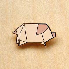 » Origami Pig Brooch