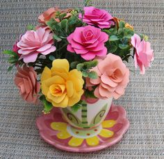 Paper Flower arrangement  in  pinkssalmon and by SweetPeasFlorals, $25.00