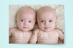 Fancy for Two Birth Announcements by Jessica Williams at minted.com