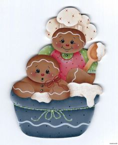 HP GINGERBREAD Mom and Baby Baking FRIDGE MAGNET