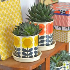 cache-pot moyen big Spot jaune Orla Kiely - deco-graphic.com                                                                                                                                                                                 More