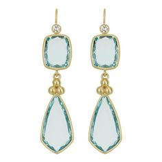 SLANE Double Drop Aquamarine Earrings with Diamonds in Yellow Gold