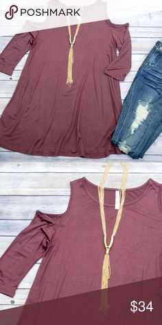 Cold Shoulder Tunic - Mauve Loose fitting tunic with cold shoulders. This is the perfect base layer for fall! Goes great with leggings, leggings, you name it! Also comes in black, olive, burgundy, gray, and navy. Please see individual listings to purchase other colors. No trades. Kyoot Klothing Tops Tunics