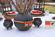Culture Roof is a traditional wedding decor specialist who specializes in African Wedding Decorations. The event decor company is run by owner Nontobeko Lubisi and offers services in Gauteng, Mpumalanga, Limpopo and North West. African Traditional Wedding Dress, Traditional Wedding Decor, Traditional Wedding Invitations, Gold Wedding Invitations, African Wedding Cakes, African Wedding Theme, African Theme, African Attire, Zulu Wedding