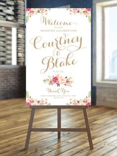 Welcome to our Wedding Sign - Large Wedding Poster - Romantic Blooms - Vintage Gold Script - Personalized - I Create and You Print