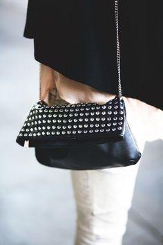 black leather & studs