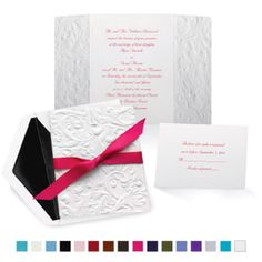 Michaels.com Wedding Department: Embossed Damask Wedding Invitations Deep embossing, a unique fold, an elegant ribbon - everything about this wedding invitation shows your modern wedding style! The bright white, gate-fold invitation is printed with your wording inside in your choice of Michaels ink color and up to two lettering styles. Choose one of our beautiful ribbon for tying around the invitation. Ribbon is pre-cut for easy assembly. To learn more or start personalizing,