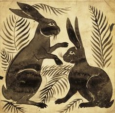 HARE: Two Rabbits or Hares, tile design by William de Morgan England, century. Art And Illustration, Illustrations, Arts And Crafts Movement, William Morris, Art Ancien, Rabbit Art, Rabbit Drawing, Into The Fire, Bunny Art