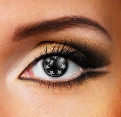 These Black & Grey Star contact lenses will completely transform you! 7 little grey stars surrounding your pupil, great for a Halloween costume, special