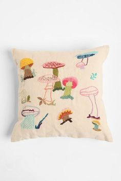 // Embroidered mushroom pillow. by alyson