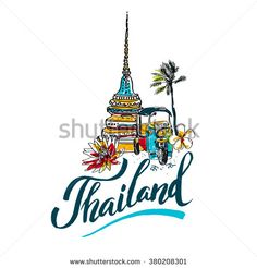 A vector illustration of hand drawn elements for traveling to Thailand, concept Travel to Thailand. Lettering logo  - stock vector
