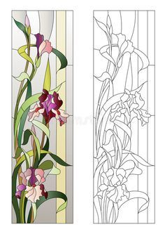 Glass Painting Patterns, Glass Painting Designs, Stained Glass Designs, Stained Glass Projects, Stained Glass Patterns, Stained Glass Door, Stained Glass Flowers, Stained Glass Panels, L'art Du Vitrail