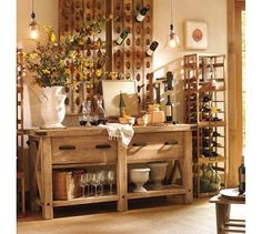I want to find an old buffet that looks like this that is red!  (or I can paint one :)  and then get a wine rack like that and paint it red too!  I think that would look awesome up again a blue wall :)