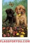 Pups and Flowers Garden Flag