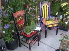 Painted Plant Stand Chairs