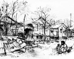 Refugees drawings by Ronald Searle