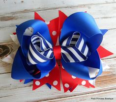 Fourth of July Hair Bow Girls hair bows by PoshPrincessBows1, $11.99