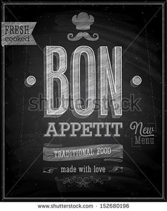 Vintage Bon Appetit Poster - Chalkboard. Vector illustration. - stock vector