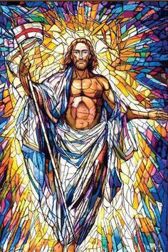 20-foot Resurrected Christ stained glass window, Co-Cathedral of the Sacred Heart, Houston, TX. Cathedral and glass design by Rohn & Associates Design.