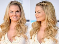 Braids, braided hair, braided hairstyles, hair inspiration, celeb hair, celebrity hair, Jennifer Morrison, french-braid, french braided bangs, curls