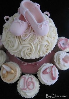 A collection of ballet cupcakes and giant cupcake - by Charmaine @ CakesDecor.com - cake decorating website