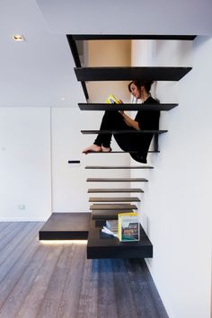 A Renovated Apartment in Buenos Aires - Design Milk Gascon apartment renovation by Remy arquitectos and MYOO Cottage Renovation, Apartment Renovation, Stairs Architecture, Interior Architecture, Contemporary Architecture, Stair Kits, Steel Stairs, Concrete Stairs, Floating Staircase