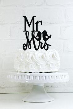 Mr & Mrs Love Bird Wedding Cake Topper or Sign by WyaleDesigns
