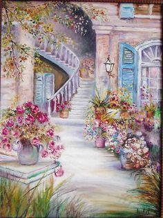 cuadro realizado en oleo... Scenery Paintings, Landscape Paintings, Watercolor Landscape, Watercolor Paintings, Painted Cottage, Decoupage Art, Belle Photo, Beautiful Landscapes, Flower Art