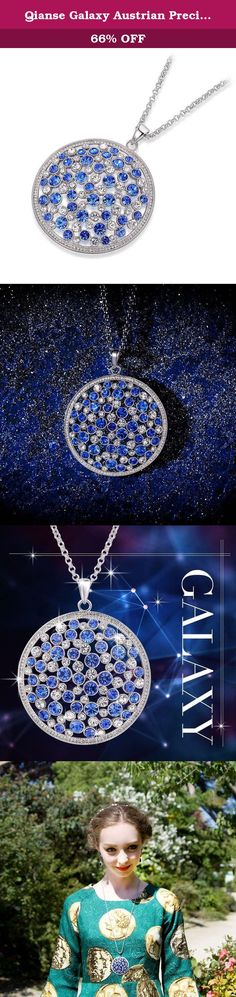 Qianse Galaxy Austrian Preciosa Blue and Clear Crystal Round Disk Chain with Pendant. Qianse is one of the larger Swarovski Authorized jewelry manufacturers (http://b2bchecking.swarovski-b2b.com.hk Search:QIANSE) and all products carry SGS Product Quality Testing and Certification; started 15 years ago and today has 380 employees, has a number of jewelry technology patents, and is a jewelry manufacturing leader; has a design team from Paris headed by Chief Designer Nina, one of the…