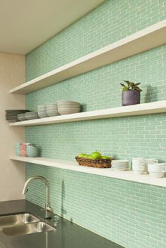 Office Kitchen Design. Product: Glass   Color: Juniper   Size: 1x4   Pattern: Offset  PHOTO CREDIT: Malcom Fearon, Bliss Images