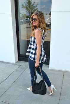 Anthropologie gingham peplum tank patchwork jeans with white pumps on Kansas City fashion blog Sophisticaited.com