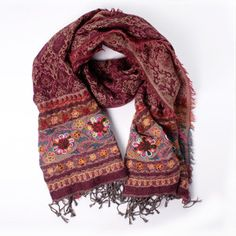 Wool/Cotton Scarf Burgundy now featured on Fab.