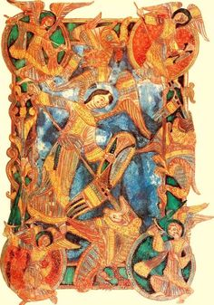 Archangel Michael is repeatedly portrayed as leading battle on the side of right. In the image above from the 11th century