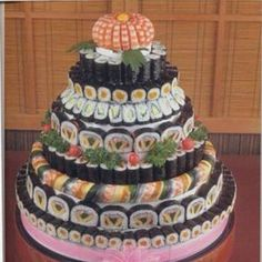 Hawaiian/Japanese Wedding Cake I wouldn't wanna have this as a wedding cake but this is wonderful!