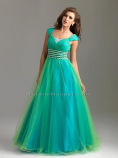 Color! Mwah          A dreamy ball gown with delicate cap sleeves and ruched bodice. The look is completed with beading on the bodice and the waistline.     Fabric: Iridescent Tulle over Charmeuse Satin   Our Price: $398.00    Color: Turquoise/Lime  Size: 12  Size ChartPurchase Zipper Gown Bag:---Vinyl + $20.00Breathable + $30.00Please Select Shipping Method For Prom Gowns:USA - 1st Dress + $18.00USA - Next Dress - Group Order + $8.00Alaska - 1st Dress +