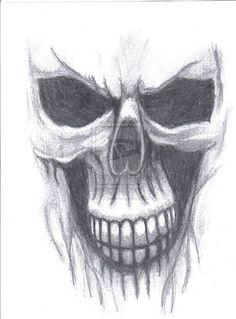 Ghost Skull by DuskEyes on DeviantArt Skull Sketch, Face Sketch, Pencil Drawings Of Girls, Animal Drawings, Ghost Rider Drawing, Dark Tattoo, Demon Tattoo, Tattoo Drawings, Skull Drawings