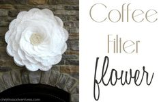 coffeefilterflower-it's huge! Love that it's just a cheap hula hoop, coffee filters, and some thrifted lace!  http://christinasadventures.com/2012/07/coffee-filter-flower-bridal-shower-dcor.html#