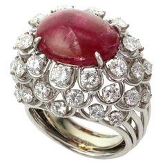 David Webb Ruby Diamond Platinum Dome Ring - Home Design Idea Ruby Diamond Rings, Diamond Jewelry, Diamond Cuts, Diamond Necklaces, Red Jewelry, Jewelry Rings, Fine Jewelry, Jewellery, Jewelry Box