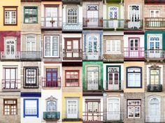 fotografías muestran los colores y estilos en las ventanas de Guimaraes