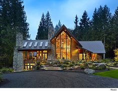 awesome Log Homes Exterior Design Ideas, Pictures, Remodel and Decor Mountain Modern, Mountain Homes, Mountain Style, Mountain House Plans, Mountain Cabins, Mountain Landscape, Mountain View, Log Homes Exterior, Exterior Design