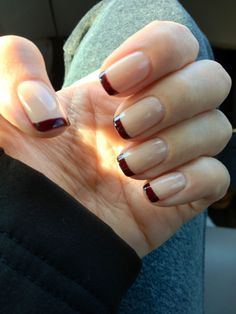 Burgundy and neutral French manicure.  OPI Mrs. O'leary's BBQ and OPI Samoan Island.