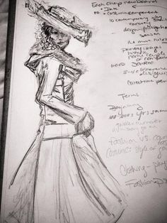 Fashion History Sketch, Process Work, Kristin Shore, 2013 MY LOVELY DAUGHTER IS HELPING OUT AT FASHION WEEK, THIS IS FOR HER- A FUTURE DESIGNER! DANI GEE