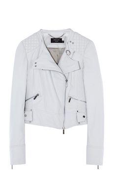 Weiße Bikerjacke aus Leder