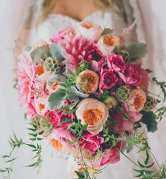 Huge, lush bouquet with pinks, peaches and vines | Los Angeles Industrial Wedding: Kari + Jaime
