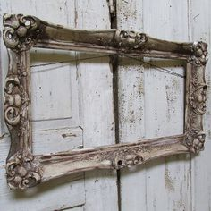 Antique gesso wood frame rustic farmhouse hand by AnitaSperoDesign
