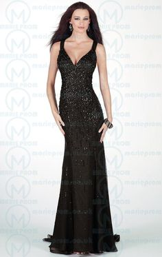 98cb3d6660a Beading Criss Cross V neck Chiffon Trumpet Evening Dress Dressesmall.  Mermaid Style Prom DressesBlack ...