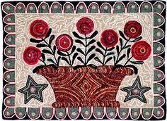 Art Patterns rug hooking design by MShaw-FolkArt.com, Flower Basket