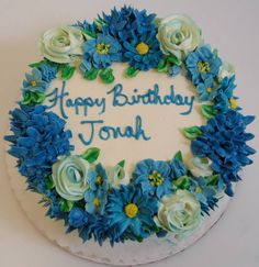 Blue buttercream floral cake