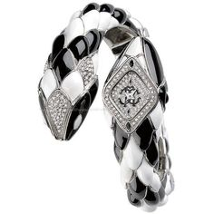 roberto cavalli black and white snake watch